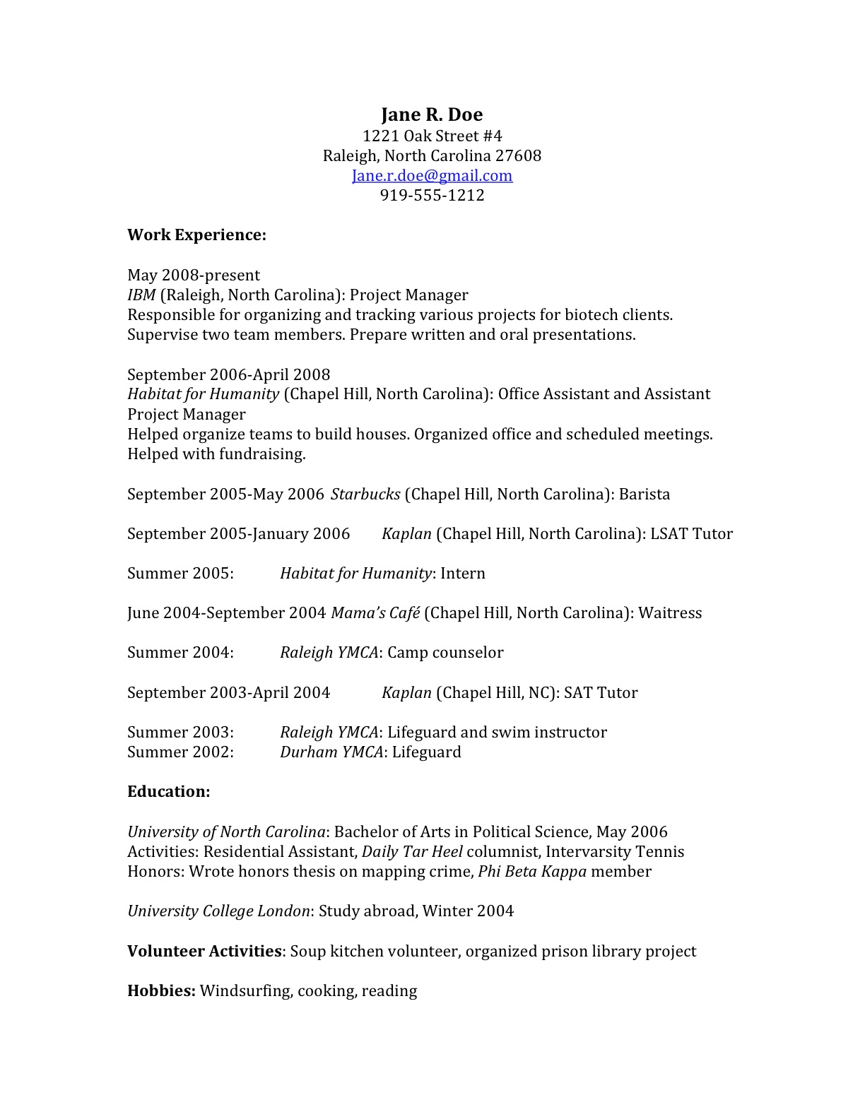 Jane Doeu0027s Starting Resume  Resume Outlines Examples