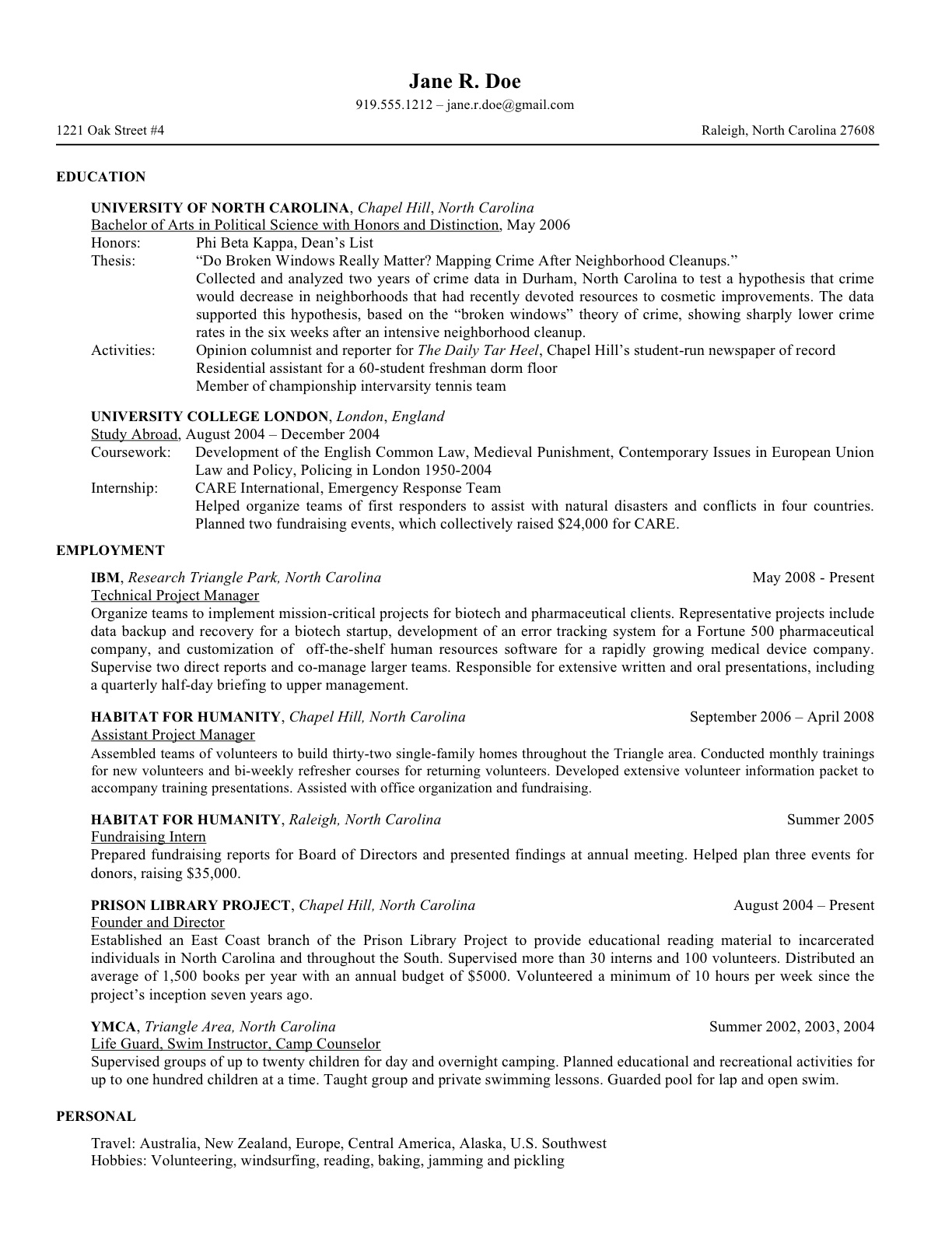 janes revised resume - Personal Interests On Resume Examples